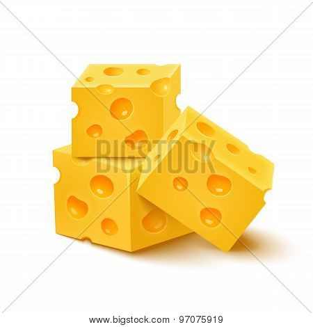 Cubes Of Yellow Cheese On White Background