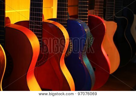 Guitars in music store
