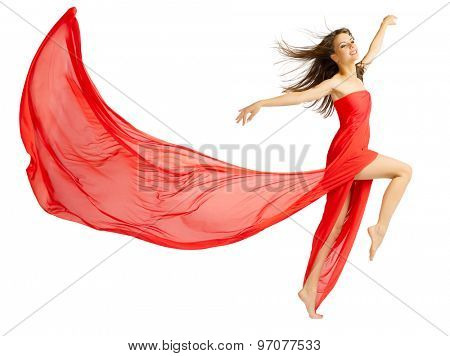Young girl in red cloth isolated