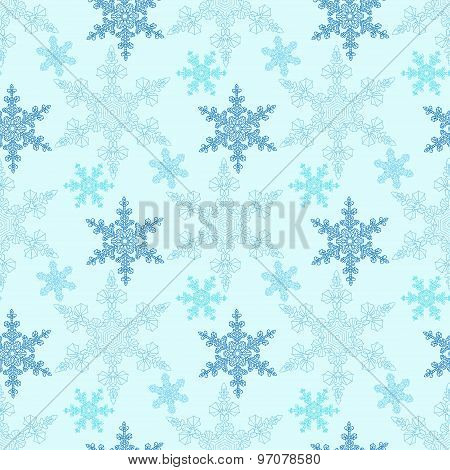 Hand-drawn Doodles Natural Color Snowflake Seamless. Zentangle Mandala Style.