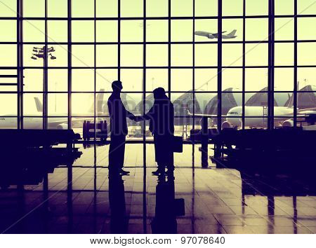 Businessmen Handshake Deal Partnership International Airport Concept