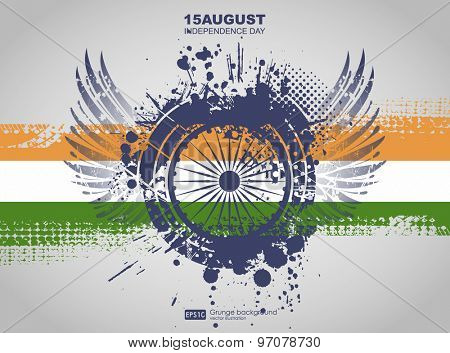 Grunge background vector. Grunge print for t-shirt. Abstract dirt backgrounds texture. Grunge banner with an inky dribble strip with copy space. Indian Independence Day