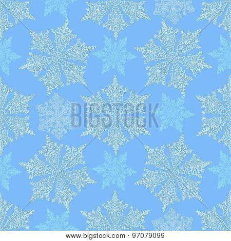 Hand-drawn Doodles Natural Color Snowflake Seamless. Zentangle Mandala Style.