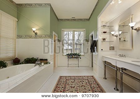 Master Bath With Green Walls