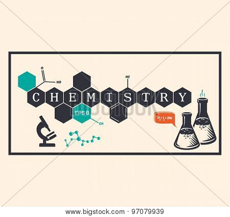 Chemistry Background, Chemistry Inscription. Vector Illustration