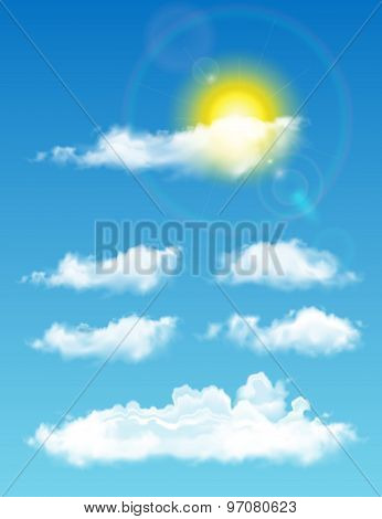 Transparent Realistic Clouds. Full-time Sky With Sun And Clouds