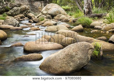 Rocks and flowing water