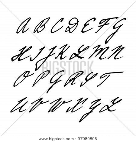 Hand Drawn Vector Alphabet, Font, Isolated Upper Case Letters, Initials