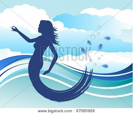 mermaid with clouds and water