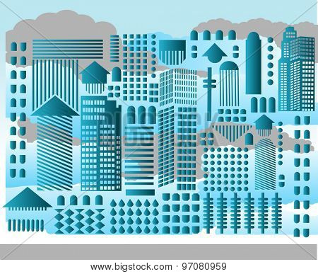 Abstract cityscape geometric shapes clouds behind