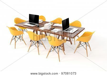 3d modern computer workplace, conference table