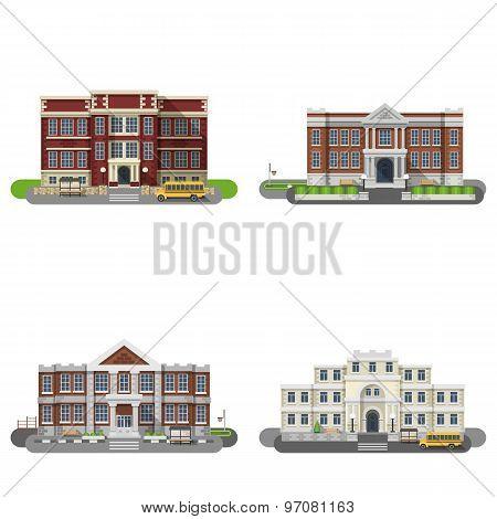 School Buildings Flat Set