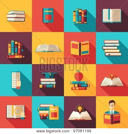 Books Flat Long Shadow Icon Set