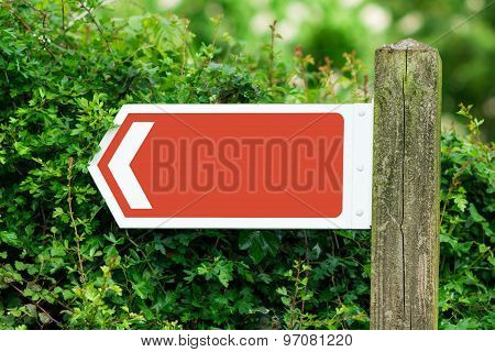 Empty Direction Arrow Sign. Red Color. Simple Add Your Text