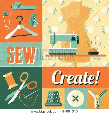 Sewing vintage decoration collage poster