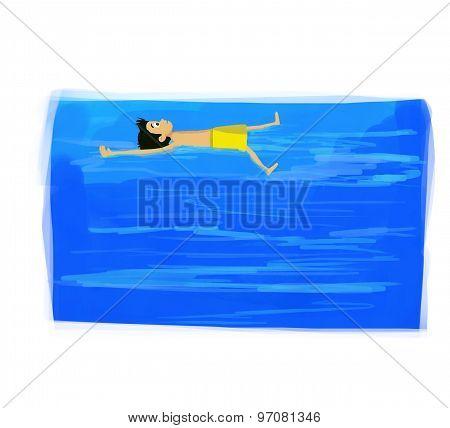 swimming in sea illustration