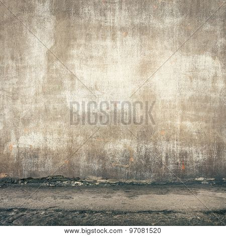 Urban background. Grunge obsolete street wall.