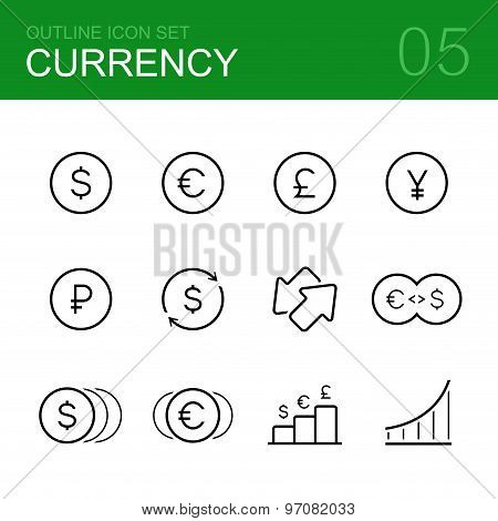 Currency vector outline icon set