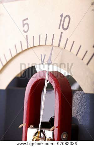 Vintage voltmeters close up