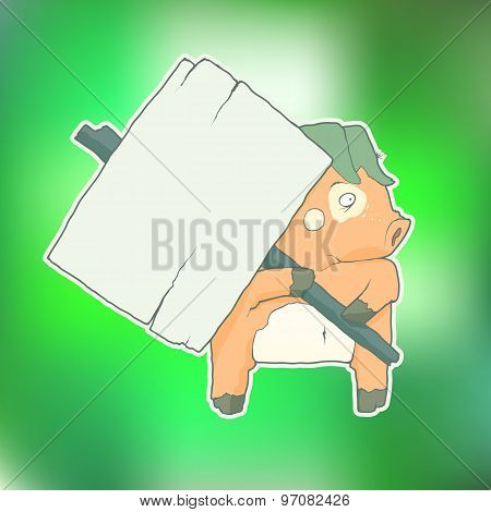 Cartoon Character Pig with wooden poster Isolated on Color Blurred Background. Vector.