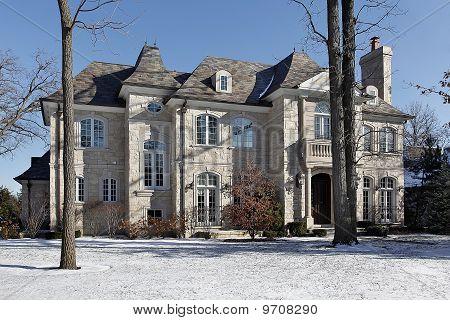 Luxury Stone Home In Winter