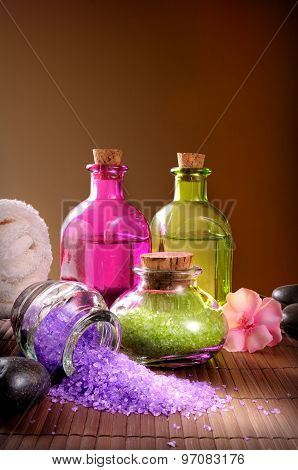 Bath Salts And Body Oil Vertical Composition