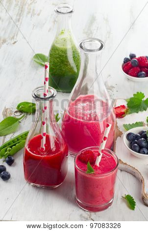Healthy Smoothies In Glass Bottles.