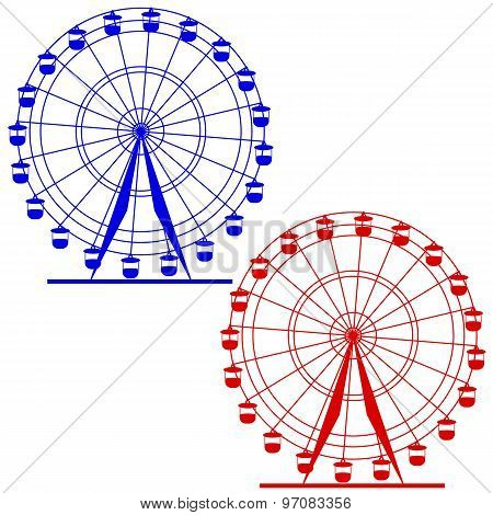 Silhouette Atraktsion Colorful Ferris Wheel. Vector  Illustratio