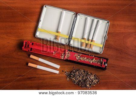 Cigarette making machine.