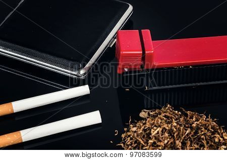 Cigarette making machine.