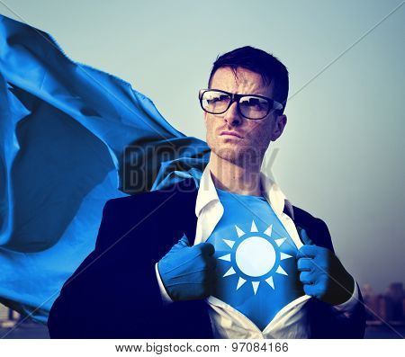 Strong Superhero Businessman Sun Concepts