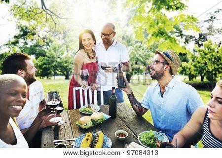Friends Couple Party Celebration Hanging out Concept