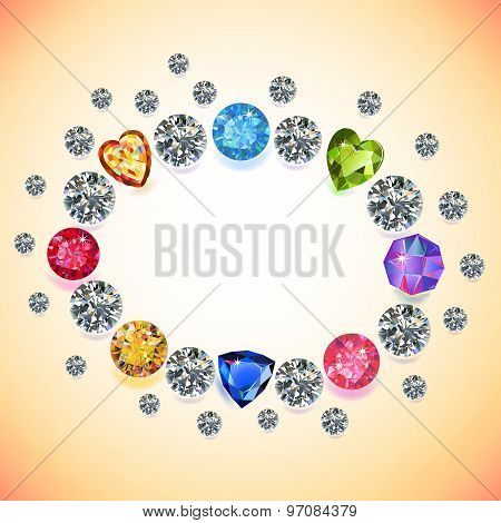 ?olored gems oval frame isolated on light background