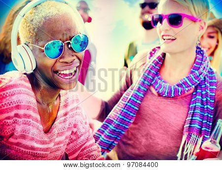 Beach Party Music Dancing Friendship Summer Concept