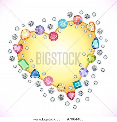 ?olored gems heart shape frame isolated on light background