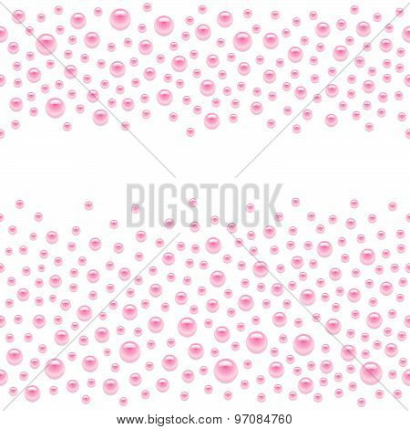 Seamless scattered pink pearls (gems, rhinestones) isolated on white background