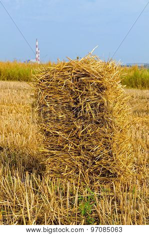 Haystack on the field.