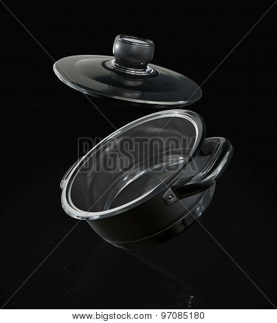 Steel Pan With Open Cap On The Black Background.