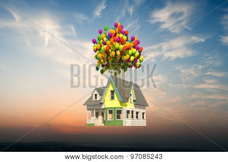 Wooden Victorian House Flying Up