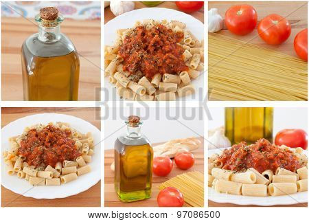 Photo sequence of preparing a delicious plate of pasta with tomato