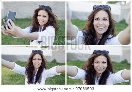 Four photos of pretty brunette in the park by becoming a photo with mobile