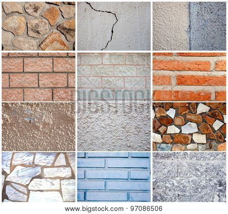 Twelve different types of textures for wall construction.