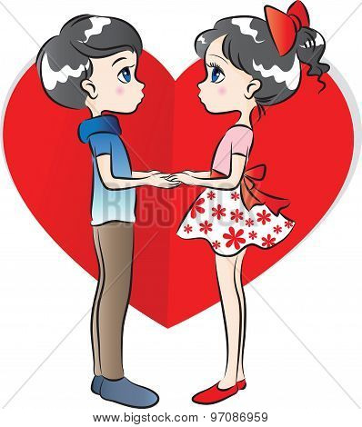 boy and girl with heart shape