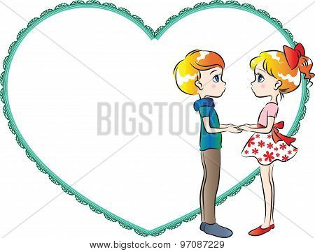 boy and girl with heart shape border