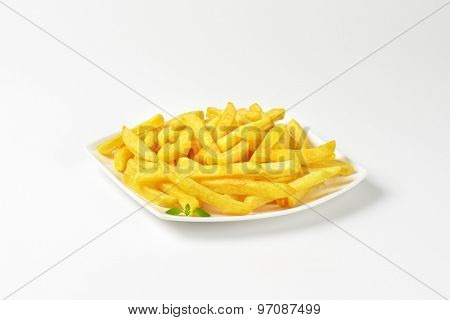 plate of french fries on white background