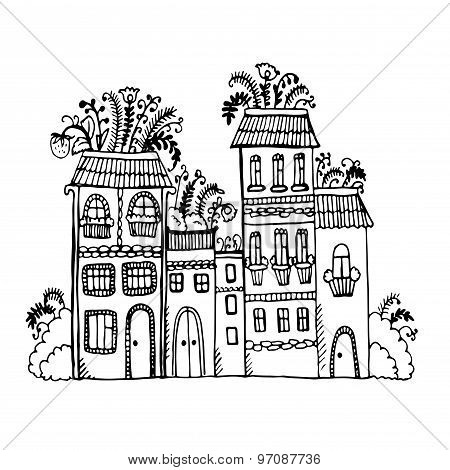house with flowers on the roof graphic vector illustration