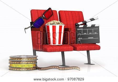 3D Glasses, Ppcorn, Clapper On Cinems Chairs