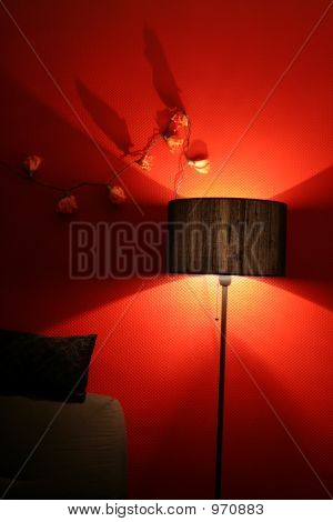 Red Interior With Light And Sofa