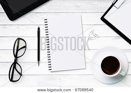 White Blank Notebook And Accessories, Mock Up