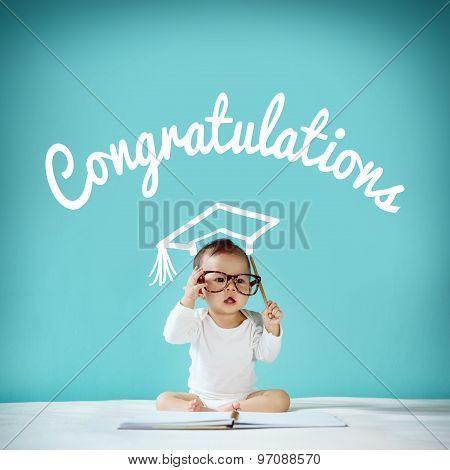 Newborn And Blackboard With